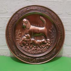 CATEA cu 5 CATELUSI - farfurie metalica decorativa masiva, aplica de perete - Arta din Metal