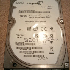 Hard-disk / HDD SEAGATE MOMENTUS 250GB ST9250315AS Defect - Sectoare realocate, 200-299 GB, SATA