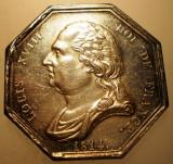 J.272 FRANTA MEDALIE LOUIS XVIII AGENS DE CHANGE PARIS 1814 ARGINT 16,3g, Europa