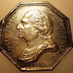 J.272 FRANTA MEDALIE LOUIS XVIII AGENS DE CHANGE PARIS 1814 ARGINT 16, 3g, Europa