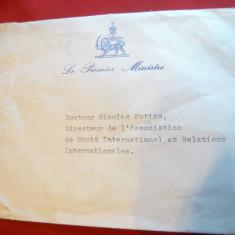 Plic adresat Dlui Nicolae Fotino - Directorul Asociatiei de Drept International - Autograf