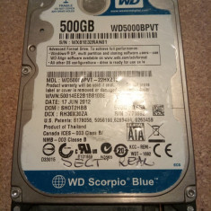 Hard-disk / HDD SATA WESTERN DIGITAL 500GB WD5000BEVT Defect- Sectoare realocate - HDD laptop Western Digital, 500-999 GB