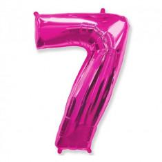 Balon Folie Figurina, Cifra 7, Fuchsia