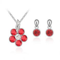 Set bijuterii Red Flower - Set Swarovski