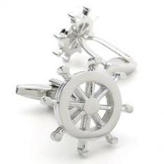 Butoni argintii tema marina forma timona  + ambalaj cadou, Inox