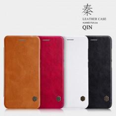 Husa HUAWEI P10 Lite Qin Leather Rosie - Husa Telefon Huawei, Rosu, Piele Ecologica, Cu clapeta, Toc