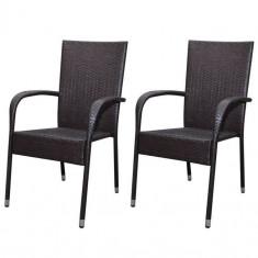 Set 2 scaune grădină din poliratan, Maro