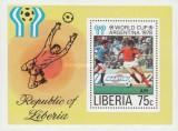 LIBERIA 1978 - WORLD CUP, ARGENTINA 78, colita neuzata