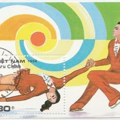 Vietnam 1988 - patinaj artistic, colita stampilata - Timbre straine