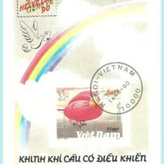 Vietnam 1990 - Zepelin, colita stampilata - Timbre straine