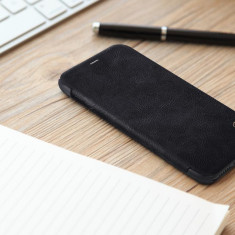 Husa iPhone X Qin Leather Case by Nillkin Black, Negru, Piele Ecologica