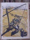"LITOGRAFIE MARCEL CHIRNOAGA- ""LA CUMPANA"", Abstract, Cerneala"