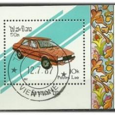 Laos 1987 - automobile, colita stampilata - Timbre straine