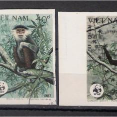 Vietnam 1987 - Fauna, maimute, serie ndt stampilata - Timbre straine
