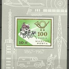 Ungaria 1967 - Centenarul postei, colita neuzata