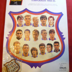 Fotografie si Insigna Echipei Fotbal FC Barcelona 1994-1995