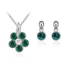 Set bijuterii Green Flower - Set Swarovski