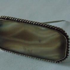 Brosa argint vintage cu agata de Botswana -2182