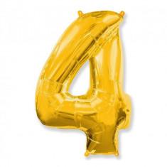 Balon Folie Figurina, Cifra 4, Auriu