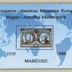 Ungaria 1989 - posta HUN-USA, colita neuzata
