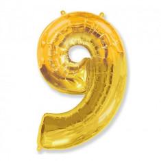 Balon Folie Figurina, Cifra 9, Auriu