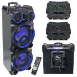 Boxa portabila 2X12 inch/30cm 300W Usb/SD/BT/FM/AUX Cu Garantie 2 ani