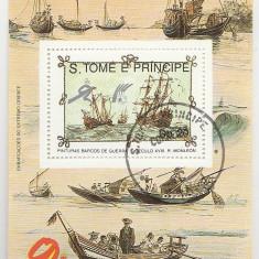Sao Tome 1989 - vapoare, colita stampilata 4