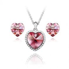 Set bijuterii Simple Heart Rose - Set Swarovski