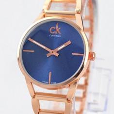 Ceas dama Calvin Klein LUX ELEGANT CK PLATINUM LABEL GOLD&BLUE-SUPERB-NOU 2017-CALITATEA 1, Fashion, Quartz, Placat cu aur, Rezistent la apa