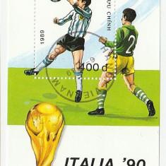 Vietnam 1989 - CM fotbal Italy, colita stampilata - Timbre straine