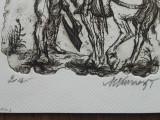 GRAVURA , MARCEL CHIRNOAGA - Cavalerii, Abstract, Cerneala