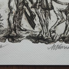 GRAVURA, MARCEL CHIRNOAGA - Cavalerii - Pictor roman, Abstract, Cerneala