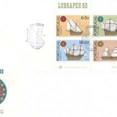 Portugalia 1980 - vapoare, bloc FDC