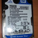 Hard disk/HDD laptop Western Digital WD Scorpio Blue 250 Gb S-ATA (WD2500BEVT-22A23T0) - defect, 200-299 GB, Rotatii: 5400