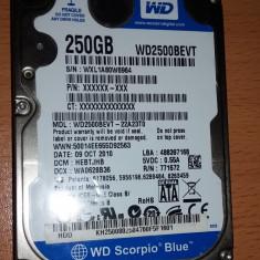 Hard disk/HDD laptop Western Digital WD Scorpio Blue 250 Gb S-ATA (WD2500BEVT-22A23T0) - defect, 200-299 GB, Rotatii: 5400