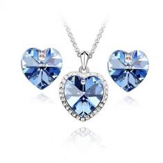 Set bijuterii Simple Heart Bleu - Set Swarovski