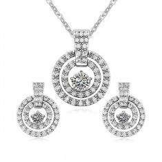 Set bijuterii cercei si colier Concentric - Set Swarovski