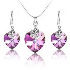 Set bijuterii argint cercei si colier Light Amethyst Heart