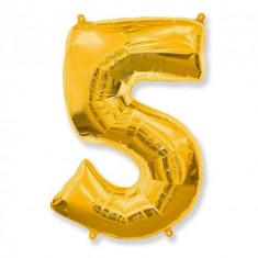 Balon Folie Figurina, Cifra 5, Auriu