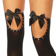 Ciorapi cu strasuri - Lenjerie sexy femei, Negru, L