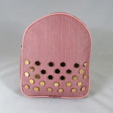 Rucsac/ghiozdan roz cu capse+CADOU, Piele ecologica