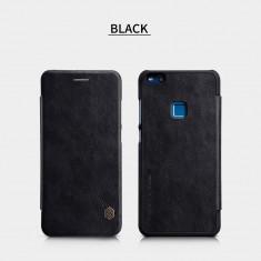 Husa HUAWEI P10 Lite Qin Leather Neagra - Husa Telefon Huawei, Negru, Piele Ecologica, Cu clapeta, Toc