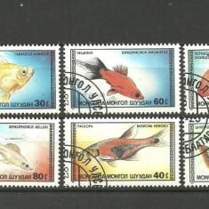 MONGOLIA 1987 – PESTI DE ACVARIU, serie stampilata, YT125 - Timbre straine