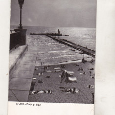 Bnk cp Eforie - Plaja si digul - uzata - Carte Postala Dobrogea dupa 1918, Circulata, Printata
