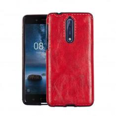 Husa Nokia 8, eleganta, piele si tpu, rosu (red), GD230 - Husa Telefon