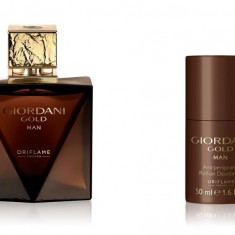 Set Barbati Giordani Gold Man - Parfum 75 ml, Roll-on 50 ml, Punga - Oriflame - Set parfum