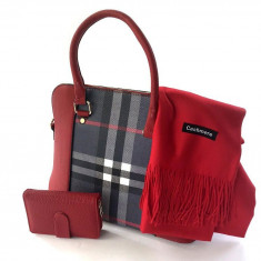 Geanta Red British Style, Portofel piele naturala & Esarfa Casmir - Geanta Dama