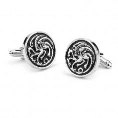 Butoni tema Game of Thrones Targaryen Dragon argintii metalici + ambalaj cadou