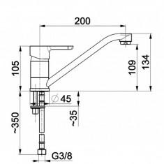 Armatura, Granat, baterie bucatarie stativa, pipa de 20 cm