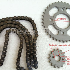 Kit 2 Piniaone + Lant Transmisie ATV - 107cc - 110cc - 125cc - 150cc - Pinioane Moto